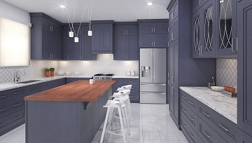 Kitchen Cabinets Blue Night