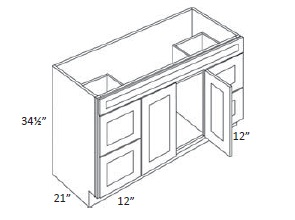 Double Door and Four Drawer Sink Base Vanity