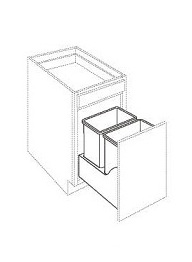 Double Trash Can Pull-Out (W/ Wood Base & Full Ext